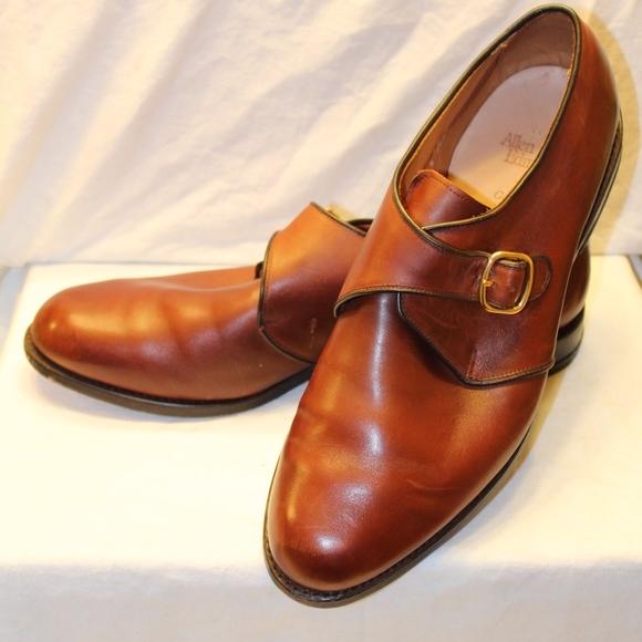 13D Allen Edmonds Buckle Brown Leather Monk Shoes